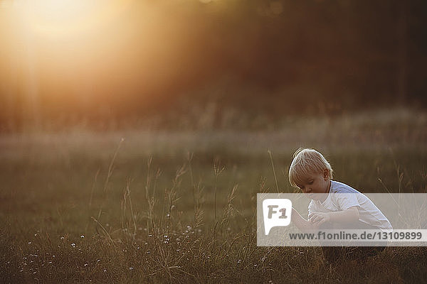 Boy holding grass while crouching on field