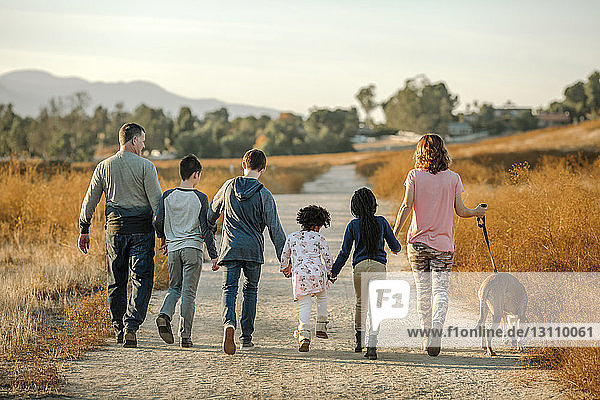 Rear view of family with dog walking on dirt road against sky at forest