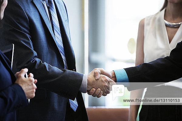 Geschäftsleute schütteln sich die Hand  während sie mit Kollegen im Amt stehen
