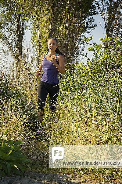 Frau joggt auf Feld im Wald