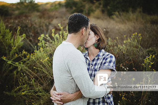 Couple kissing while embracing against plants at field