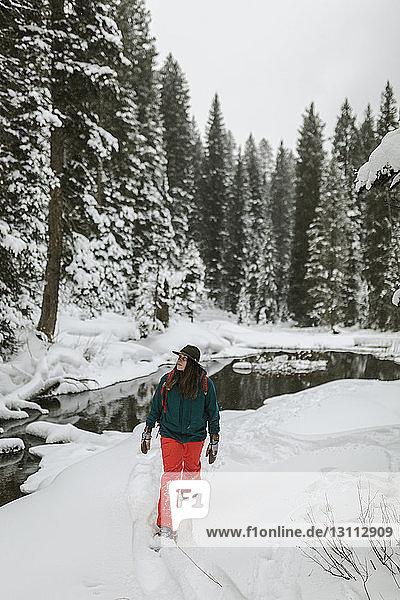 Frau geht auf schneebedecktem Feld im Wald