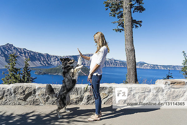 Woman giving high-five to playful dog while standing against lake