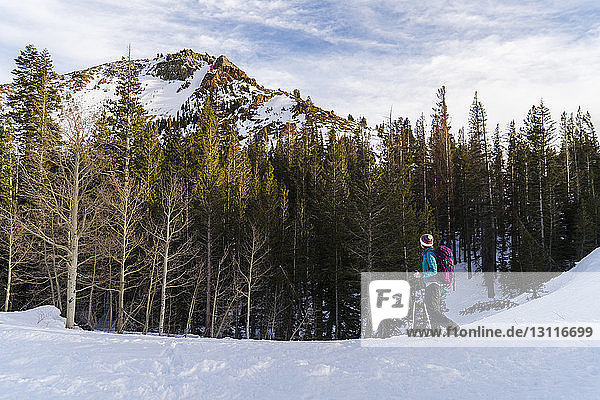 Frau mit Skistöcken geht auf verschneitem Feld