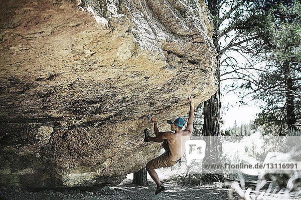 Mann ohne Hemd hängt an riesigem Felsen im Wald