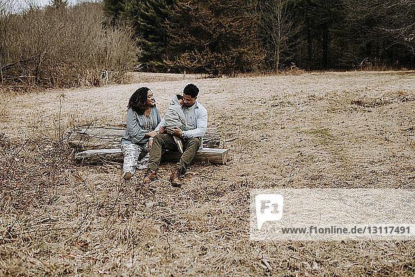 Ehepaar redet  während es mit seinem Sohn auf einem Baumstamm im Wald sitzt