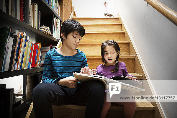 Low angle view of siblings studying while sitting on steps
