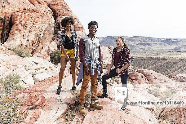 Porträt von Freunden  die auf einer Felsformation vor klarem Himmel stehen