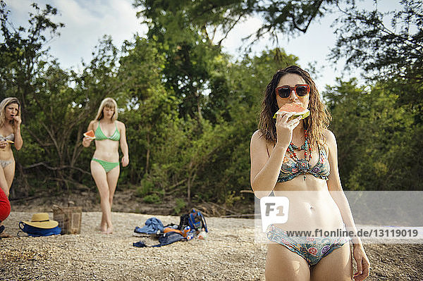 Portrait of woman eating watermelon slice with friends at beach