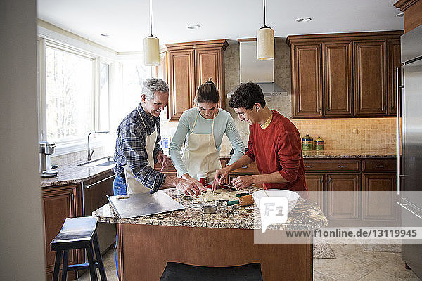 Happy family preparing gingerbread cookies in kitchen at home