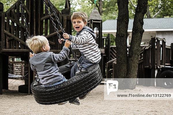 Glückliche Brüder genießen auf der Reifenschaukel auf dem Spielplatz