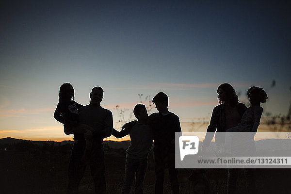 Scherenschnittfamilie steht bei Sonnenuntergang im Wald gegen den Himmel