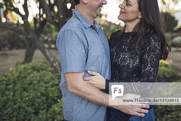 Seitenansicht eines liebenden Paares  das im Park von Angesicht zu Angesicht steht