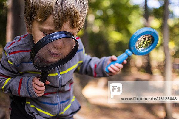 Junge spielt mit Lupe im Wald