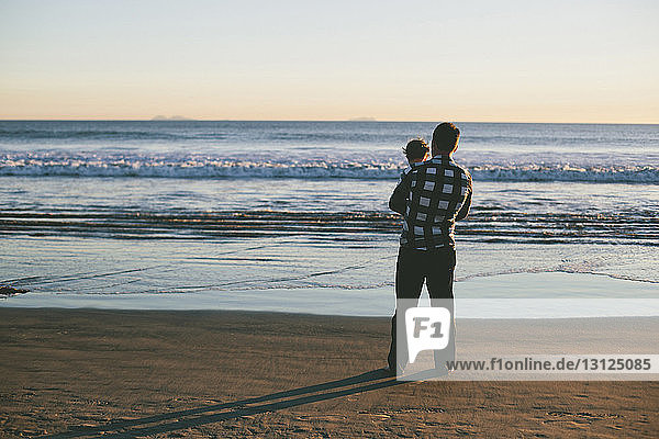 Rear view of father carrying son while standing at beach