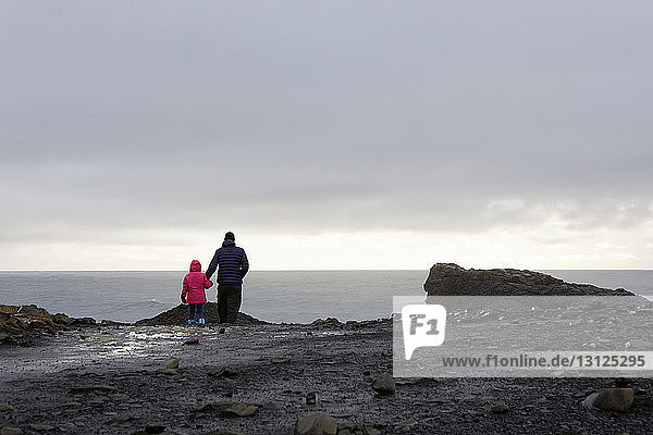 Rear view of father with daughter standing on rock by Dyrholaey Iceland against cloudy sky