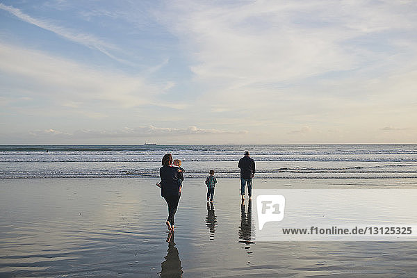 Rear view of family at beach against sky