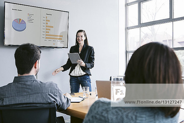 Confident businesswoman giving presentation to colleagues in meeting at board room