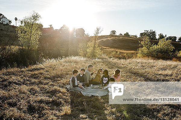 Schrägaufnahme einer Familie  die mit einem Hund auf einem Grasfeld im Wald sitzt und etwas trinkt