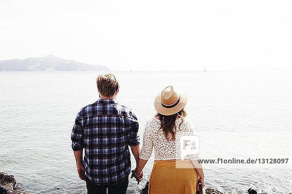 Rückansicht eines Paares  das sich an den Händen hält  während es am Meer steht