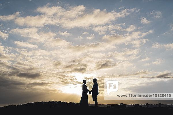 Silhouette couple holding hands while standing on field against cloudy sky during sunset