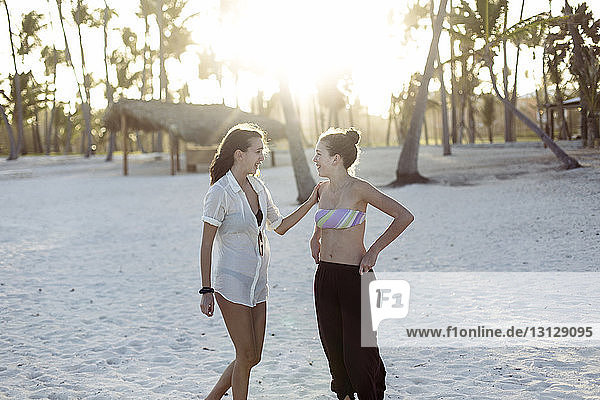 Happy friends talking while standing at beach on sunny day