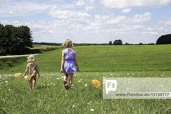 Rear view of sisters walking on grassy field against cloudy sky