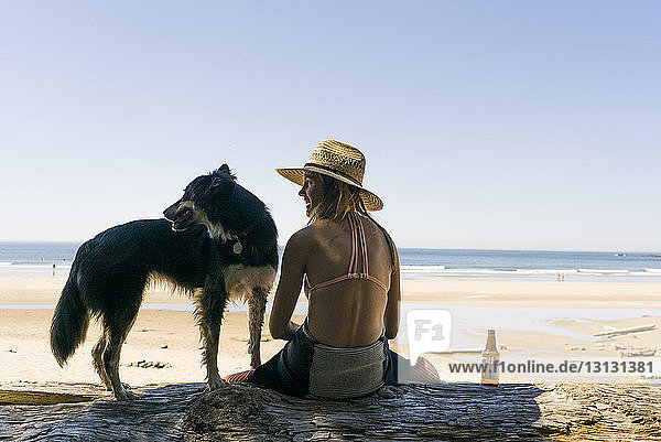 Rear view of happy woman with dog enjoying at beach