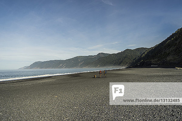 High angle view of hikers with backpacks and dog walking at beach against mountains and sky