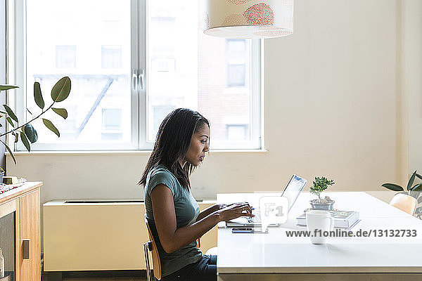 Side view of serious woman working on laptop computer at home office