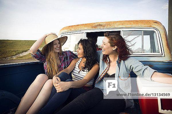 Fröhliche Freunde sitzen nebeneinander  während sie Seite an Seite im Pick-up fahren