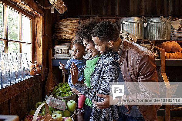 Glückliche Familie schaut durch Fenster im Bioladen