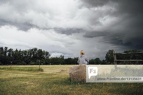 Rückansicht eines Mädchens  das auf einem Felsen inmitten eines Grasfeldes vor bewölktem Himmel sitzt