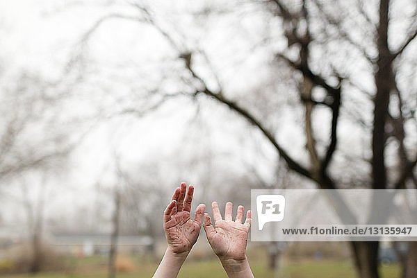 Cropped image of boy with arms raised against bare trees