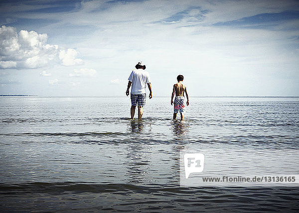 Rear view of father and son walking in sea against sky