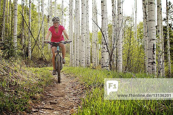 Weibliche Radsportlerin im Wald