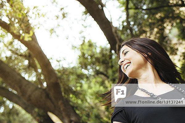 Nahaufnahme einer fröhlichen Frau  die im Wald Haare wirft