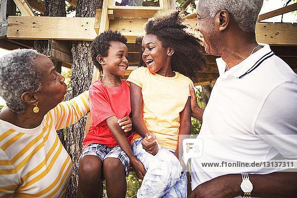 Glückliche Großeltern und Enkelkinder im Baumhaus