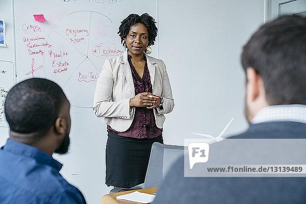 Geschäftsfrau diskutiert mit männlichen Kollegen während einer Besprechung im Amt