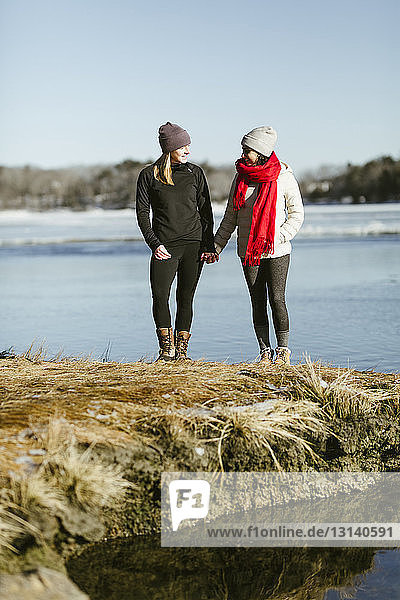 Full length of female friends standing on lakeshore at park during winter