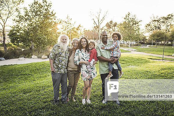 Porträt einer glücklichen Mehrgenerationen-Familie auf einem Grasfeld im Park