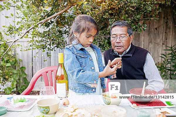 Granddaughter and grandfather looking at smart phone on picnic table