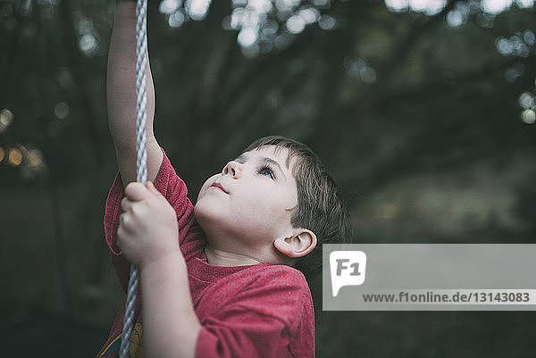 Cute boy looking up while climbing rope at playground