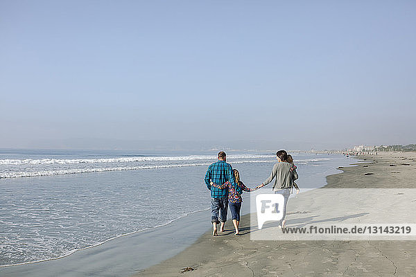 Rear view of family walking against clear sky at beach