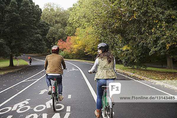 Rear view of happy couple riding bicycle on road at park