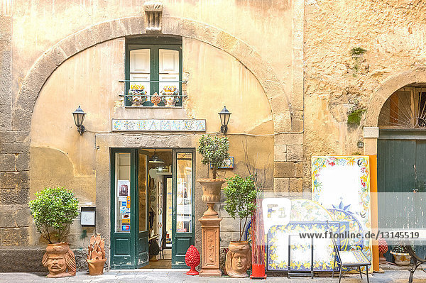Caltagirone  Italy  Sicily island  an old shop of the typical ceramics worhs in the old town