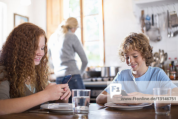 Siblings using smartphone at dining table