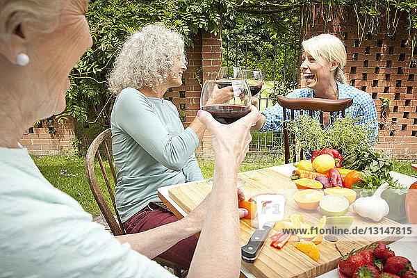 Three generation women raising a glass of red wine while preparing food at garden table