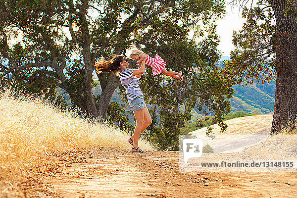 Mother and daughter having fun  Mt Diablo State Park  California  USA
