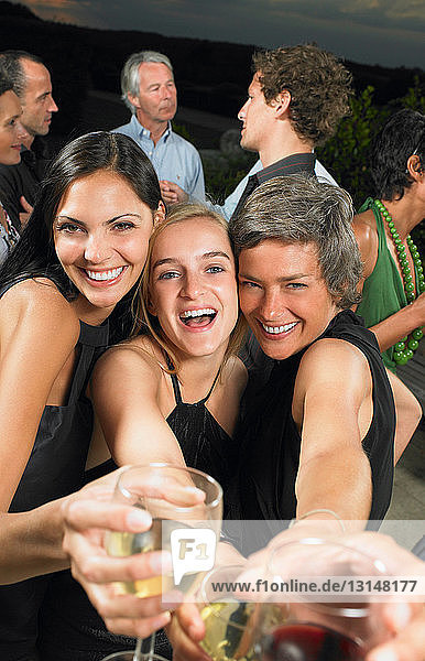 Girlfriends at a cocktail party